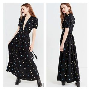 URBAN OUTFITTERS Sienna Plunging Pleat Maxi Dress